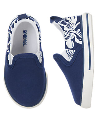 Toddler Boys Deepest Blue Tropical Slip-On Sneakers by Gymboree