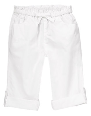 Toddler Girls White Roll Cuff Poplin Pants by Gymboree
