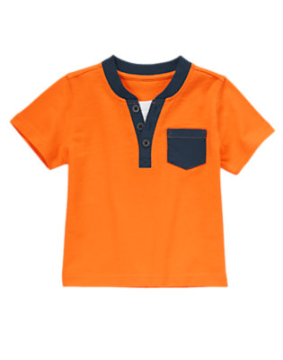Toddler Boys Orange Orbit Pocket Henley Tee by Gymboree