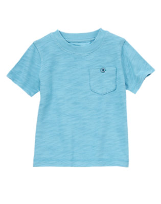 Toddler Boys Wave Blue Button Pocket Tee by Gymboree