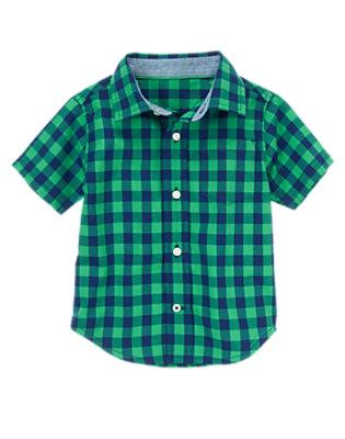 Toddler Boys Sea Green Check Checked Shirt by Gymboree