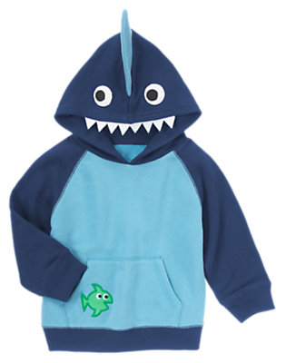 Toddler Boys Wave Blue Shark Terry Hoodie by Gymboree