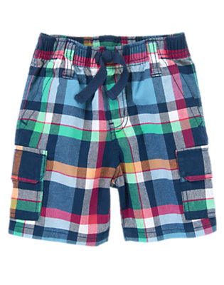 Toddler Boys Navy Plaid Plaid Cargo Shorts by Gymboree