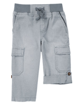 Toddler Boys Wave Blue Check Canvas Roll-Up Cargo Pants by Gymboree