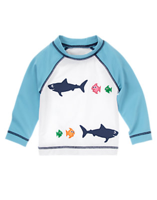 Toddler Boys White Sea Creatures Rash Guard by Gymboree