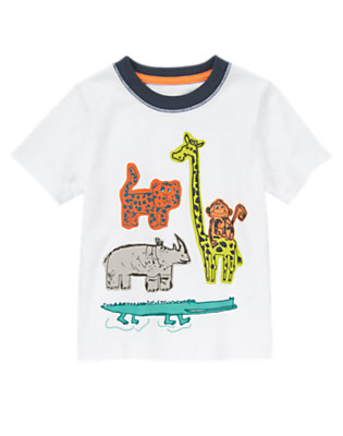 Toddler Boys White Safari Animals Tee by Gymboree