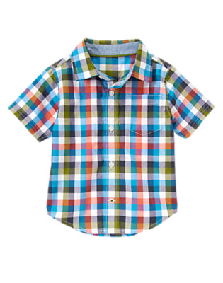 Toddler Boys Desert Teal Check Checked Shirt by Gymboree