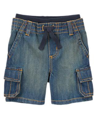 Toddler Boys Dark Denim Pull-On Denim Cargo Shorts by Gymboree