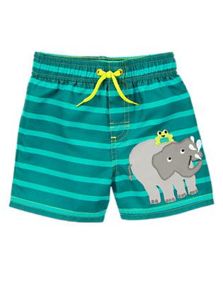 Toddler Boys Seaweed Green Stripe Elephant Striped Swim Trunks by Gymboree