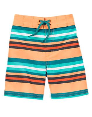 Toddler Boys Neon Orange Stripe Striped Swim Trunks by Gymboree
