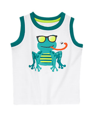 Toddler Boys White Sunglasses Frog Tank by Gymboree