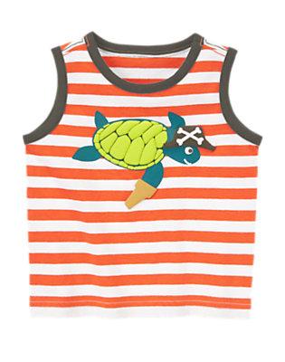 Toddler Boys Volcano Orange Stripe Striped Turtle Tank by Gymboree