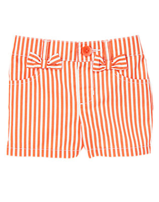 Toddler Girls Hot Coral Stripe Striped Bow Short by Gymboree