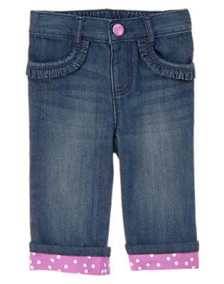Toddler Girls Denim Polka Dot Cuff Jean by Gymboree