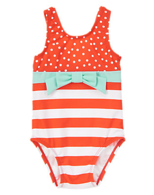 Toddler Girls Hot Coral Dots and Stripes One-Piece Swimsuit by Gymboree