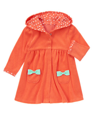 Toddler Girls Hot Coral Terry Bow Cover-Up by Gymboree