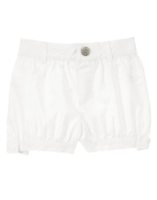 Toddler Girls White Bow Bubble Shorts by Gymboree