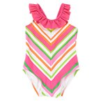 Chevron Ruffle One-Piece Swimsuit