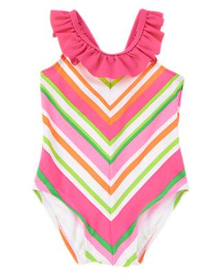 Toddler Girls Neon Island Stripe Chevron Ruffle One-Piece Swimsuit by Gymboree