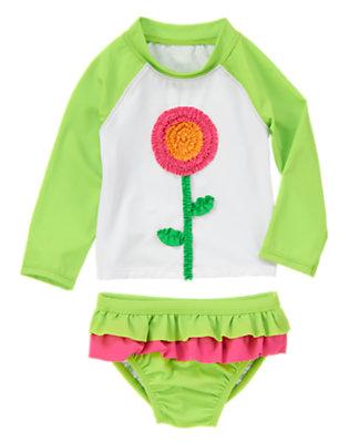 Toddler Girls Parrot Green Ruffled Flower Rash Guard Set by Gymboree