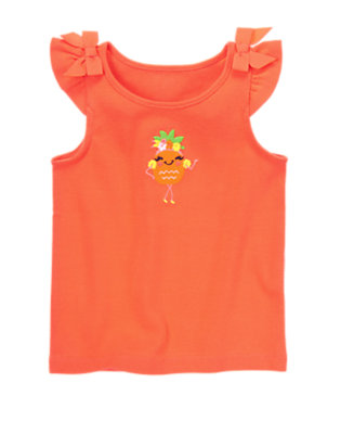 Toddler Girls Hot Coral Pretty Pineapple Tank by Gymboree