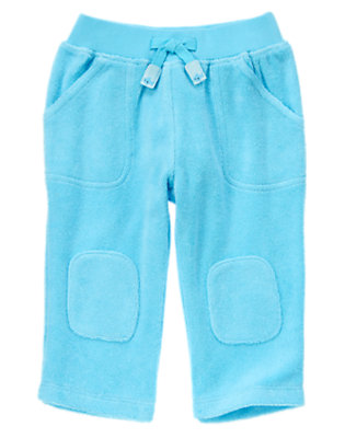 Baby Bubbly Blue Terry Knee Patch Pants by Gymboree