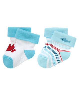 Baby Bubbly Blue Stripe Submarine and Stripes Socks Two-Pack by Gymboree