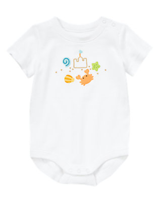 Baby White Beachy Crab Bodysuit by Gymboree