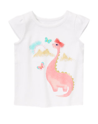 Toddler Girls White Glitter-Saurus Tee by Gymboree