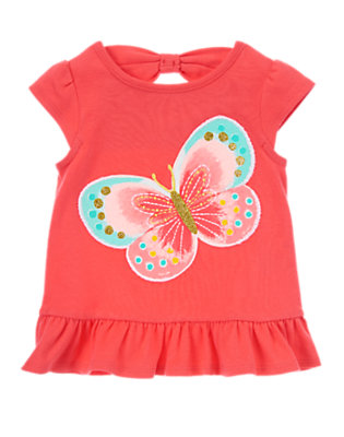 Toddler Girls Poppy Pink Glitter Butterfly Tunic by Gymboree