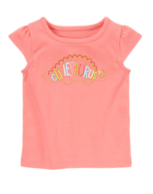 Toddler Girls Fluttery Pink Cutie-Saurus Tee by Gymboree
