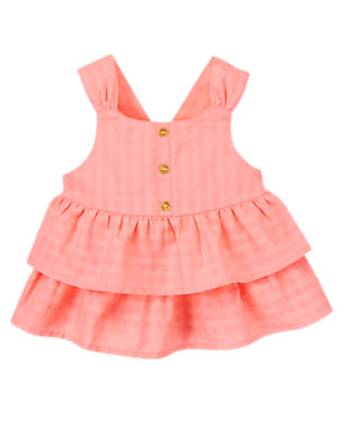 Toddler Girls Fluttery Pink Glitter Button Ruffle Top by Gymboree
