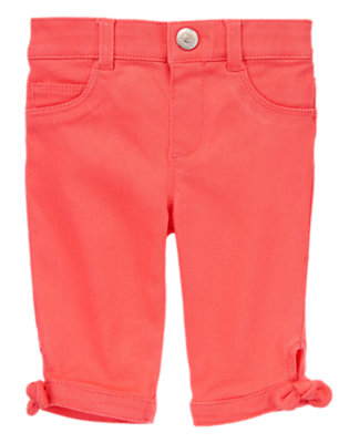 Toddler Girls Poppy Pink Bow Capris by Gymboree