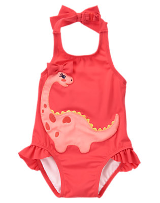 Toddler Girls Poppy Pink Dino-Sweet One-Piece Swimsuit by Gymboree