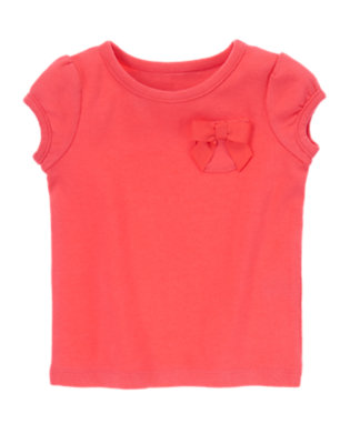 Toddler Girls Poppy Pink Bow Pocket Tee by Gymboree