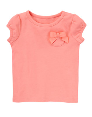 Toddler Girls Fluttery Pink Bow Pocket Tee by Gymboree