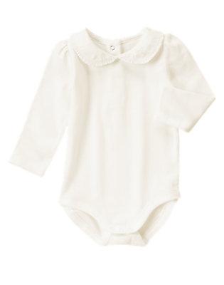 Toddler Girls White Peter Pan Collar Bodysuit/Tee by Gymboree