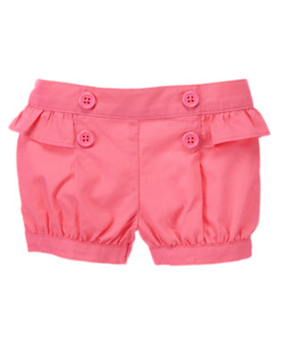 Baby Flamingo Pink Button Front Bubble Short by Gymboree