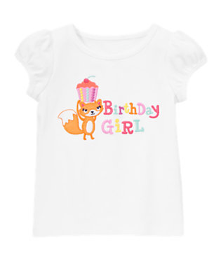 Toddler Girls White Birthday Girl Fox Tee by Gymboree