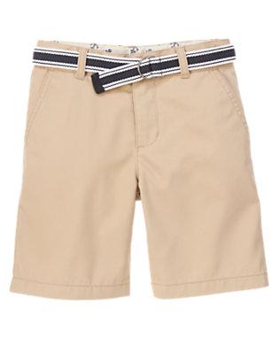 Boys Khaki Light Twill Shorts by Gymboree