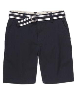 Boys Gym Navy Light Twill Shorts by Gymboree