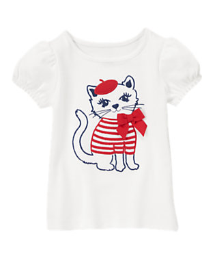Toddler Girls White French Kitty Tee by Gymboree