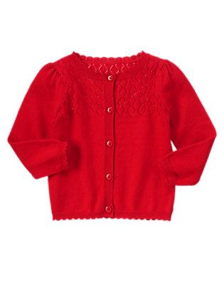 Toddler Girls Red Beret Pointelle Cardigan by Gymboree