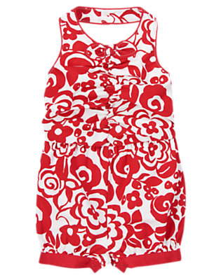 Toddler Girls Red Beret Floral Bow Romper by Gymboree
