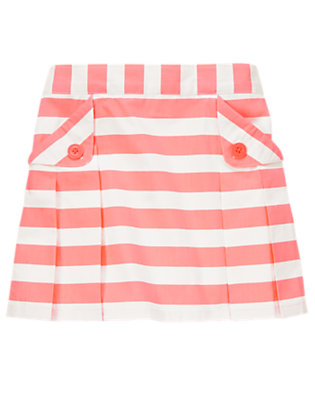 Girls Hot Coral Stripe Pleated Skirt by Gymboree