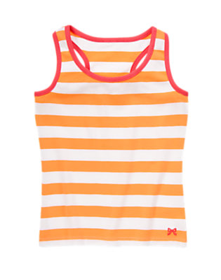 Girls Tangerine Stripe Striped Tank by Gymboree
