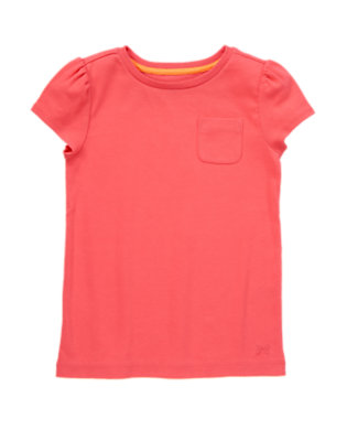 Girls Hot Coral Pocket Tee by Gymboree