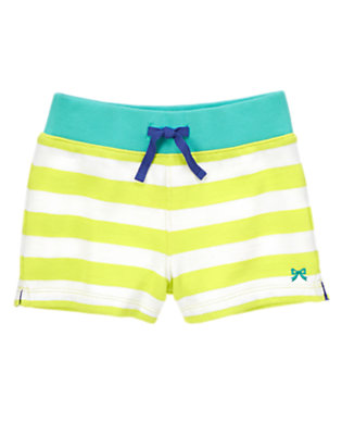 Girls Limeade Stripe Striped French Terry Shorts by Gymboree