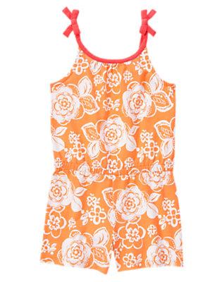 Girls Tangerine Floral Patterned Romper by Gymboree