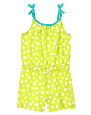 Girls Limeade Dot Patterned Romper by Gymboree
